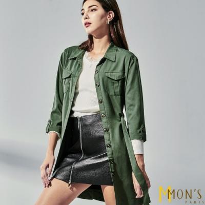 MONS 率性翻領綁帶七分袖長版襯衫外套