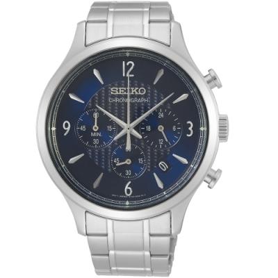 SEIKO精工經典時尚計時手錶(SSB339P1)-藍