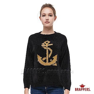 BRAPPERS 女款 配色海錨長袖線衫-黑--動態show