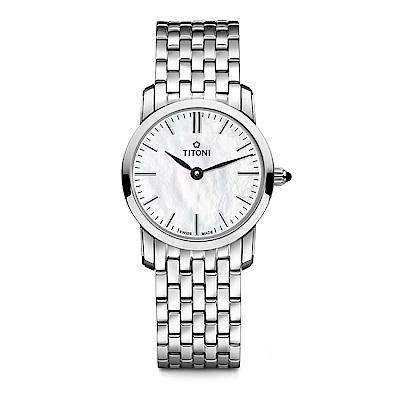 TITONI瑞士梅花錶 纖薄系列(TQ 42918 S-587)-貝殼色/24.5mm