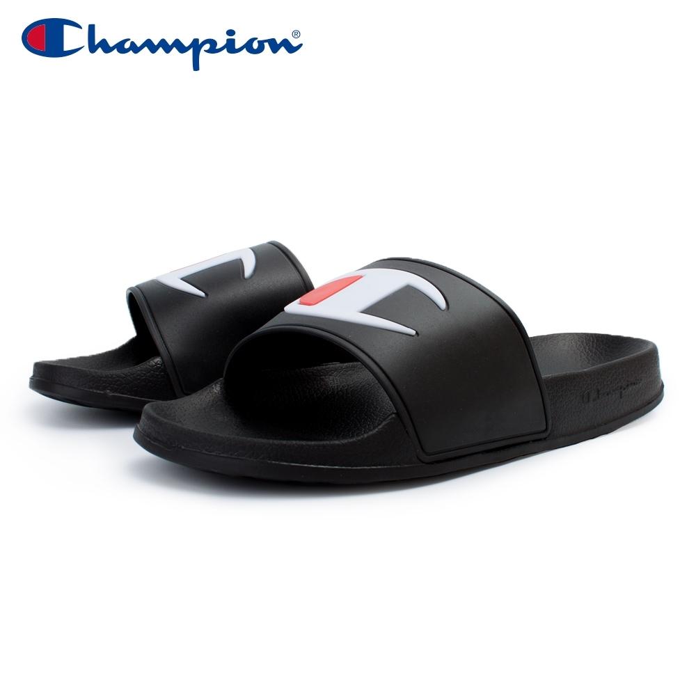 【Champion】大LOGO防水運動拖鞋 男女款 情侶鞋-黑(UFLS-9030-11)