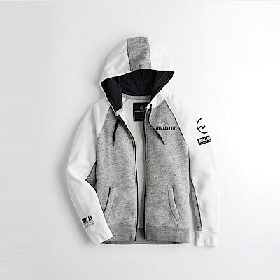 HCO Hollister 海鷗 經典印刷文字大海鷗連帽外套-灰白撞色