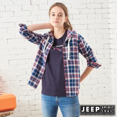 JEEP 女裝 經典格紋連帽襯衫式外套-藍格紋