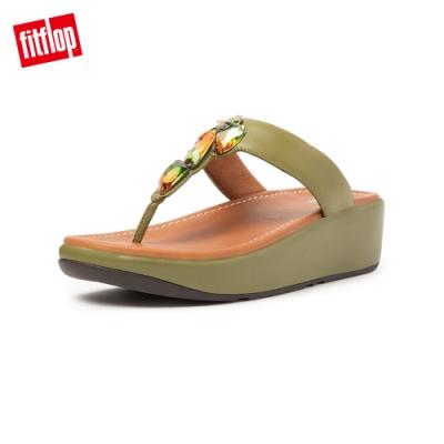 FitFlop FINO SLEEK OMBER STONES TOE POST SANDALS 柔軟皮革夾腳涼鞋-女(橄欖綠)