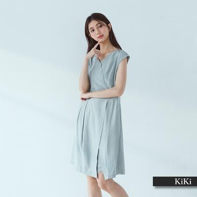 【KiKi】交錯花瓣領口蕾絲-女無袖洋裝 湖綠色洋裝 綠 灰(二色/版型適中)