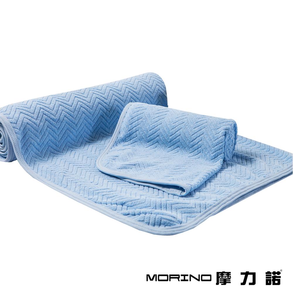 MORINO摩力諾 超細纖維緹花毛浴巾3件組-藍