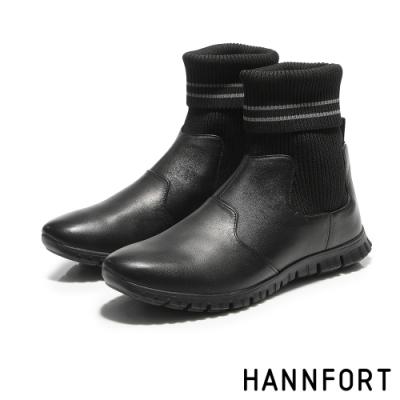 HANNFORT ZERO GRAVITY編織襪套真皮運動靴-女-搖滾黑