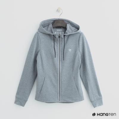 Hang Ten-女裝-ThermoContro-修身logo設計機能連帽外套-灰