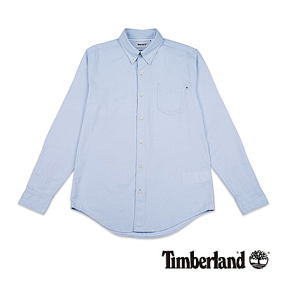 Timberland 男款紗染藍色長袖襯衫|A1NJX