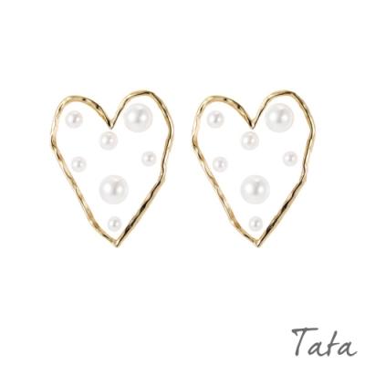 珍珠愛心耳環 TATA