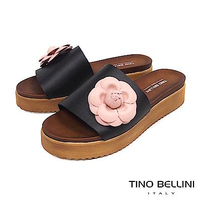 Tino Bellini 義大利進口盛開繁花厚底涼拖鞋 _ 黑