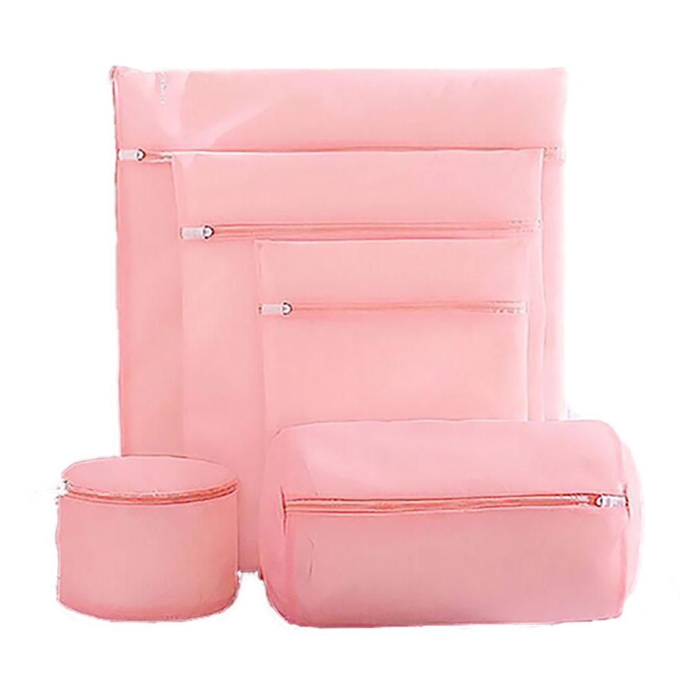 【挪威森林】高質感日系櫻花粉洗衣袋/內衣保護-五件是全套超值組