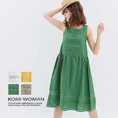 【KOMI】棉麻布蕾絲背心洋裝‧有內裡 ‧ 四色