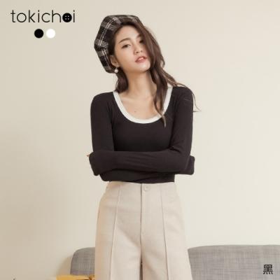 東京著衣 簡約實穿圓領滾邊撞色素面長袖上衣(共二色)