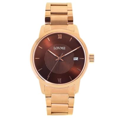 LOVME 紳士質感不鏽鋼日期窗手錶-IP玫x咖/43mm