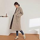 純色雙排釦西裝領長版毛呢外套-OB嚴選
