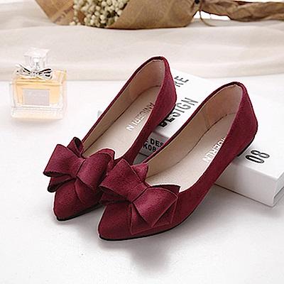 KEITH-WILL時尚鞋館 韓名媛唯美純淨尖頭平底鞋-酒紅色