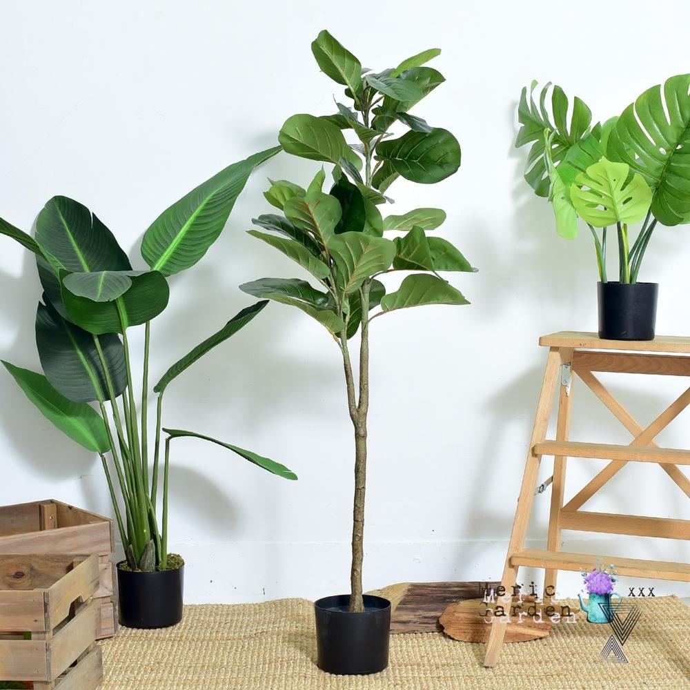 Meric Garden 北歐ins風落地琴葉榕人造盆栽/高仿真綠植大型景觀擺設盆栽