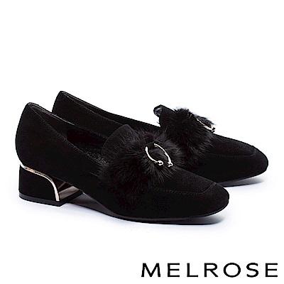 高跟鞋 MELROSE 秋冬個性貂毛環扣羊麂皮方頭高跟鞋-黑