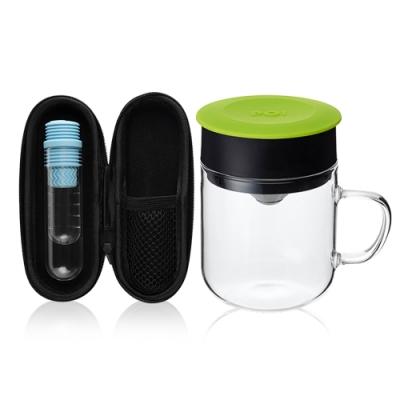 【PO:Selected】丹麥咖啡泡茶兩件組 (咖啡玻璃杯240ml-綠/試管茶格-藍)