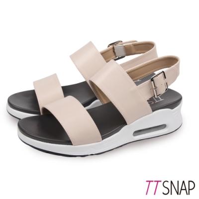 TTSNAP氣墊涼鞋-一字雙層寬帶厚底涼鞋 杏