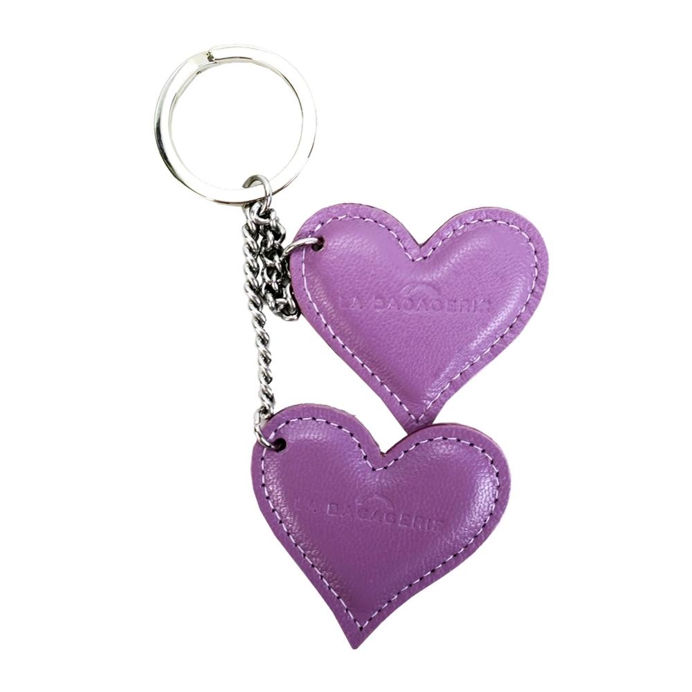 LA BAGAGERIE 牛皮雙心鑰匙圈(丁香紫)