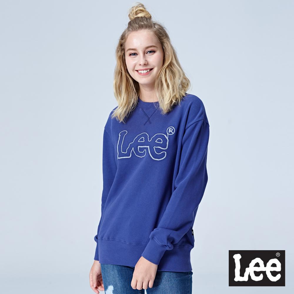 Lee 鎖鏈LOGO圓領長袖厚TEE-藍色