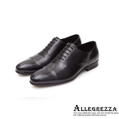 ALLEGREZZA真皮男鞋-時髦關鍵-素面鞋頭橫飾拼接牛津鞋  黑色