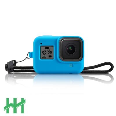 【HH】GoPro HERO 8 BLACK 矽膠護套+繫繩 (晴空藍)