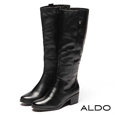 ALDO 原色真皮靴面內鋪毛佐金屬拉鍊粗跟長靴~尊爵黑色