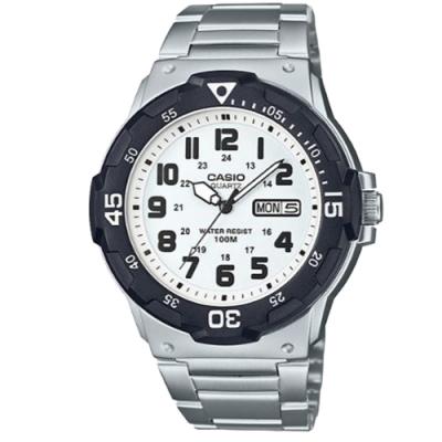 CASIO 潛水風格簡約設計日期顯示不鏽鋼錶-白(MRW-200HD-7B)/47.9mm