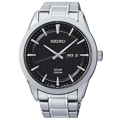 SEIKO 自信沉穩太陽能石英腕錶(SNE363P1)-黑/43mm