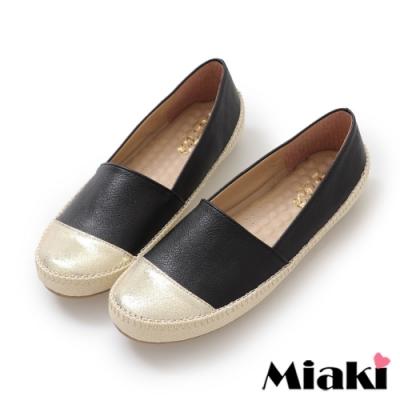 Miaki-懶人鞋時尚拼色舒適休閒鞋-黑