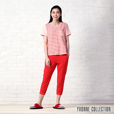 YVONNE COLLECTION 絨毛口袋短袖上衣-粉紅