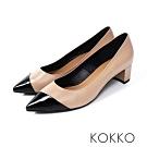 KOKKO -雙色拼接都會風低跟鞋-氣質膚