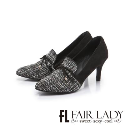 FAIR LADY 優雅小姐毛呢絨布蝴蝶結飾高跟鞋 黑毛呢