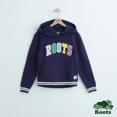 Roots大女童-彩色Roots連帽上衣-藍