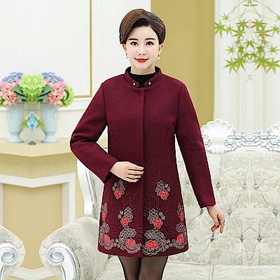 玫瑰花繡毛領外套-XL~4XL(共三色)-理子時尚