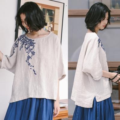 T恤-亞麻藍色印花圓領上衣寬鬆棉麻文藝-設計所在