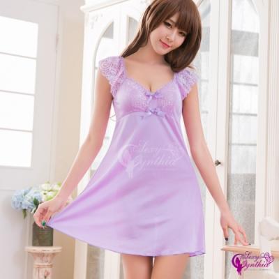 Sexy Cynthia 甜美蕾絲小蓋袖紫羅蘭柔緞連身裙睡衣-紫