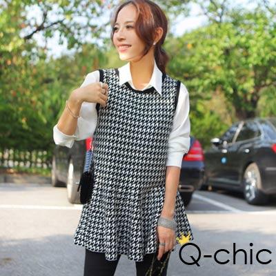 正韓 千鳥格波浪裙襬針織洋裝 (黑色)-Q-chic