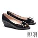 低跟鞋 HELENE SPARK 高雅時尚金屬釦魚口楔型低跟鞋-黑 product thumbnail 1