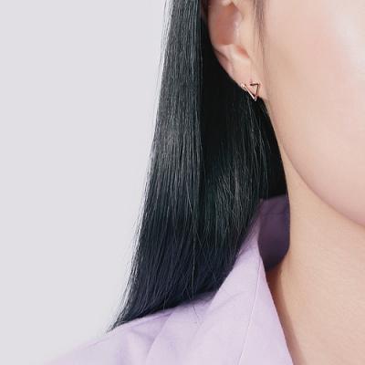 梨花HaNA 韓國925銀極簡三角鏤空點鑽耳環