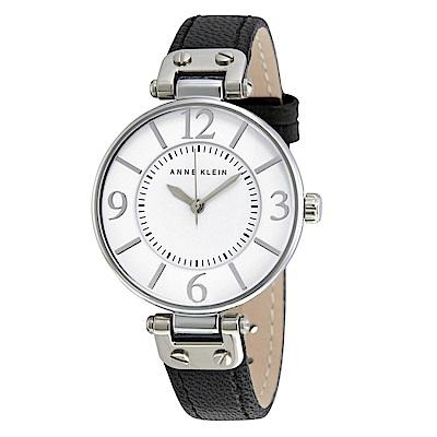 Anne Klein 漫步塞納河畔精緻小牛皮腕錶-白色x34mm AK-9169WTBK