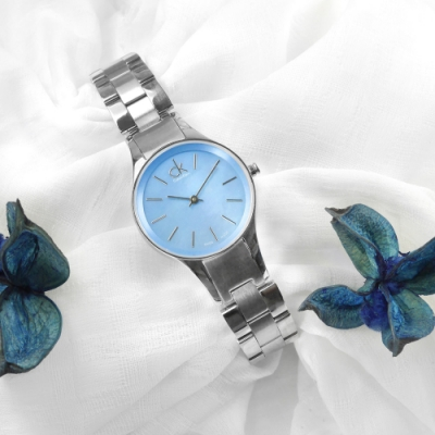 CK 珍珠母貝 簡約典雅 瑞士製造 不鏽鋼手錶-藍色/28mm
