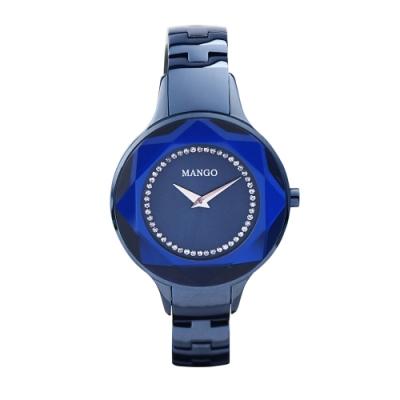 MANGO獨特魅力多切割仕女腕錶-亮麗藍/36mm
