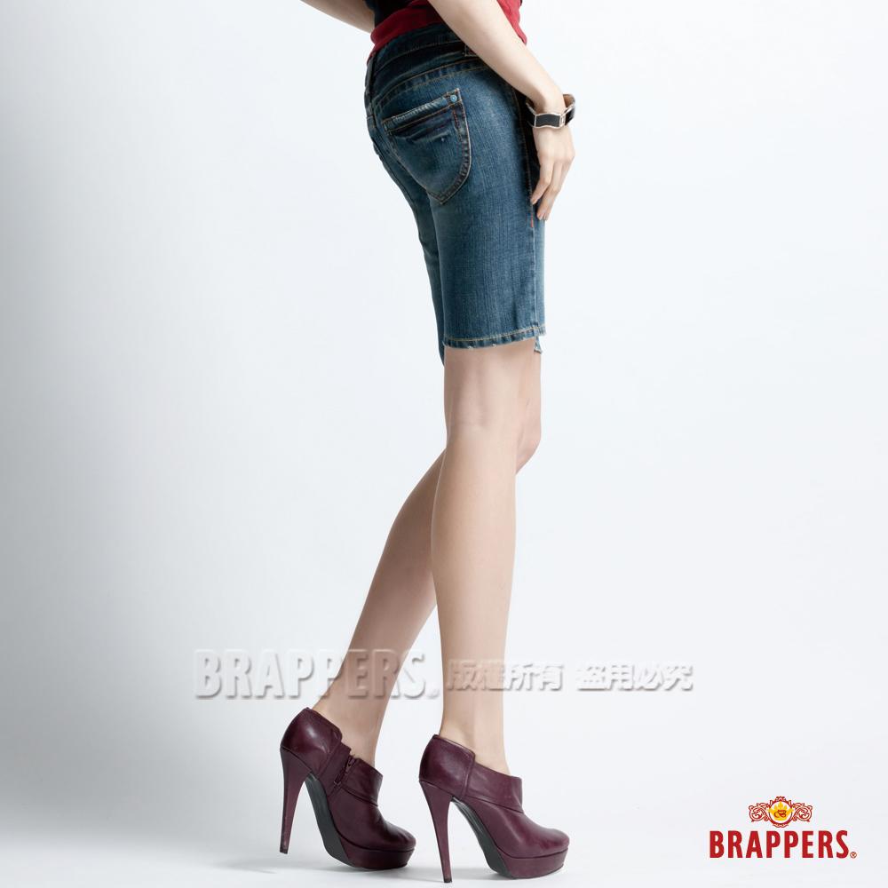 BRAPPERS 女垮褲系列-合身五分褲-藍