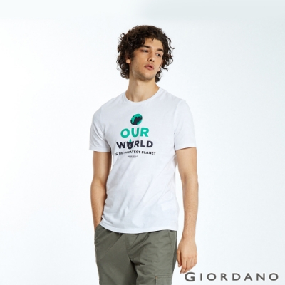 GIORDANO 男裝DEAR WORLD系列印花T恤-01 標誌白