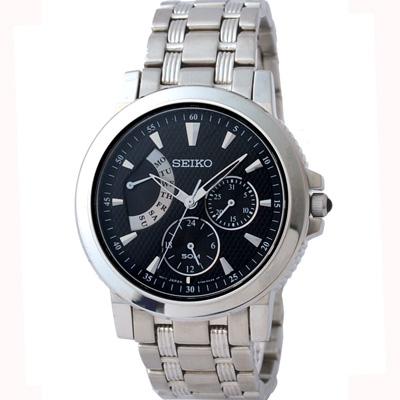 SEIKO Le Grand Sport 逆行日期黑面腕錶(SNT001)-39mm