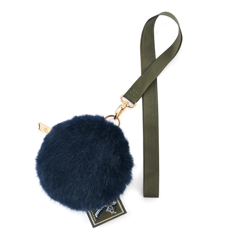 PORTER - 時髦微醺WINE O'CLOCK隨身毛絨頸掛小袋 - 藍